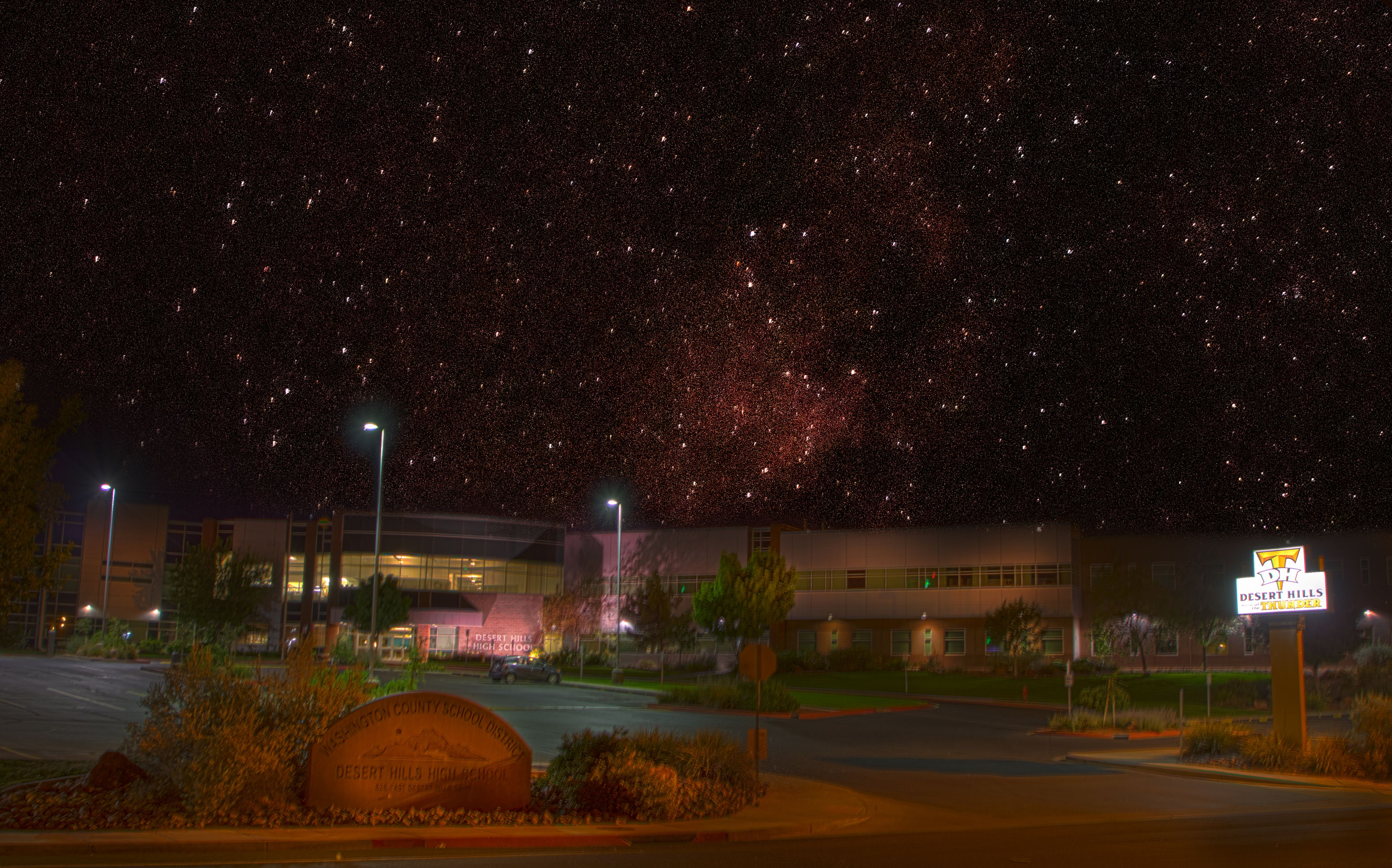 Front of School with Stars Behind
