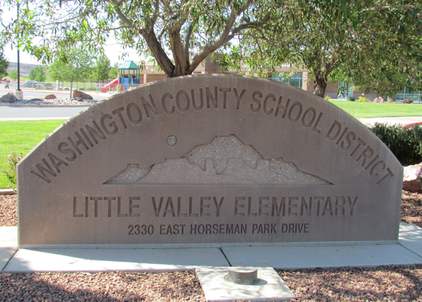Little Valley Elementary Stone Sign In Front Of School