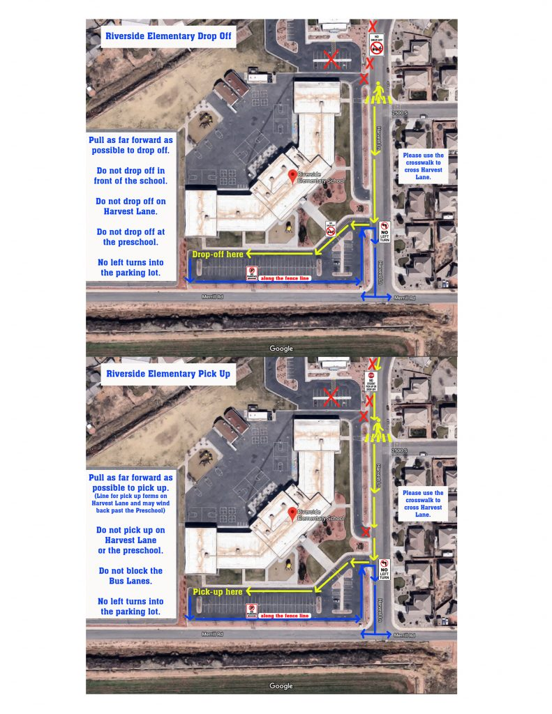 Riverside Elementary Drop Off and Pick up map
