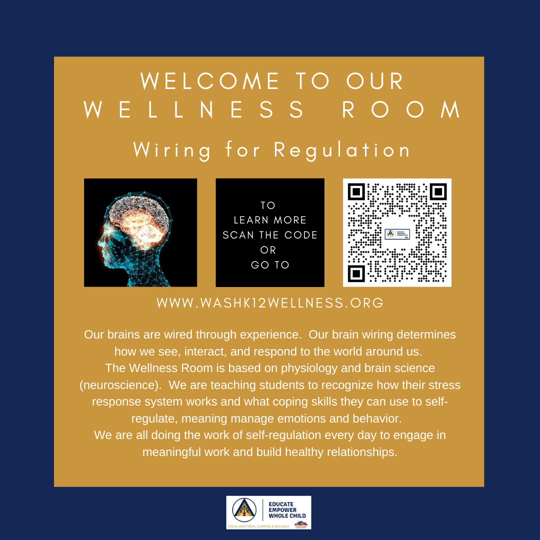 Wellness Room Information with QR Code taking you to www.washk12wellness.org
